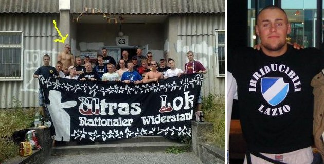 "Links: Brinsa hinter ""Ultras Lok Nationaler Widerstand""-Transparent; Rechts Brinsa mit Irriducibili-Shirt"